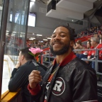 Ottawa Redblacks' defensive back Sherrod Baltimore goes to Ottawa 67s hockey game